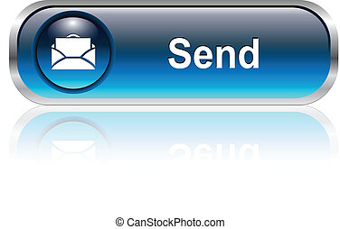 Mail icon, button - Contact us, mail icon, button, blue ...