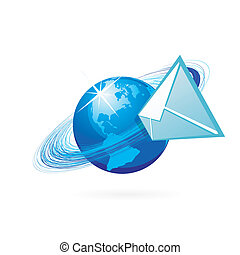 Mail in globe icon on whhite background