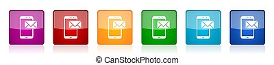 Mail icon set, colorful square glossy vector illustrations in 6 options for web design and mobile applications