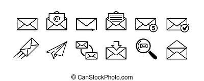 Mail icon set isolated on white background