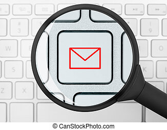 Mail icon under the magnifying glass