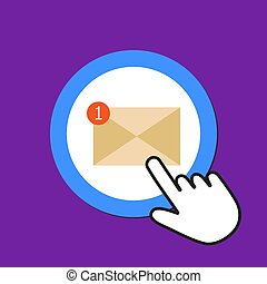 Mail icon. Unreading e-mail concept. Hand Mouse Cursor Clicks the Button.