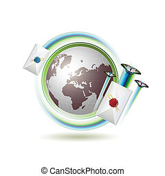 Mail icon with Earth