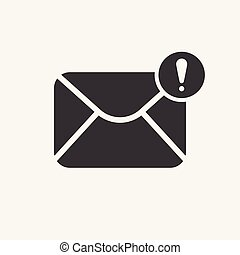 Mail icon with exclamation mark. Mail icon and alert, error, alarm, danger symbol