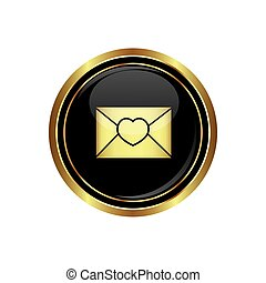 Mail icon with heart on the black with gold round button....