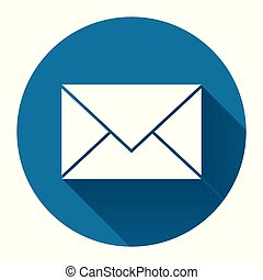 Mail icon with long shadow black on white background, Simple...