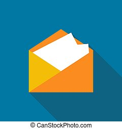 Mail icon with long shadow black on white background, Simple design style. vector illustration