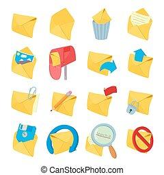Mail icons set, cartoon style