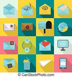 Mail icons set, flat style