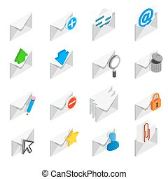 Mail icons set, isometric 3d style