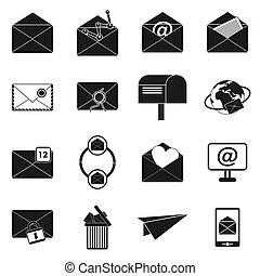 Mail icons set, simple style