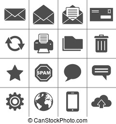 Mail icons set - Simplus series - Email Icons. Each icon is...