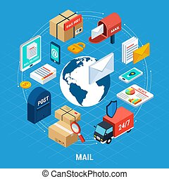 Mail Isometric Round Composition