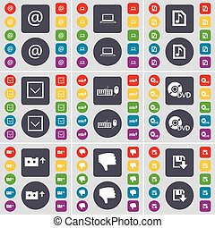 Mail, Laptop, Music file, Arrow down, Keyboard, DVD, Cassette, Dislike, Floppy icon symbol. A large set of flat, colored buttons for your design. Vector