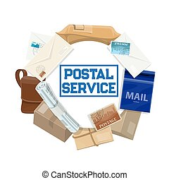 Mail letters, parcels, mailboxes. Postal service