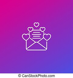 mail love letter line icon