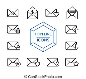 Mail message line icon set for business marketing