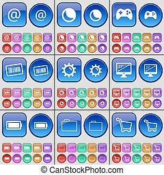 Mail, Moon, Gamepad, Barcode, Gear, Monitor, Battery, Folder, Shopping cart. A large set of multi-colored buttons. Vector