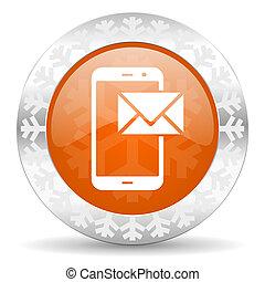mail orange icon, christmas button, post sign