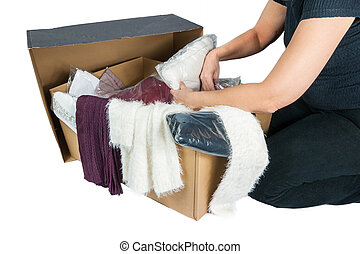 mail order business - Cardboard with various packed and...