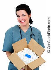 Mail Order Medicine - Pretty Nurse Holding A Box Of Medicine...