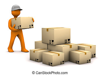 Mail-Order - Orange cartoon characer with parcels. White...