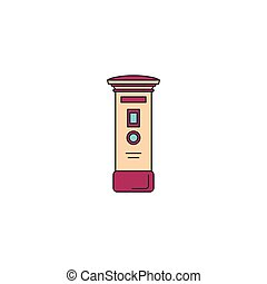 Mail post box icon, cartoon style