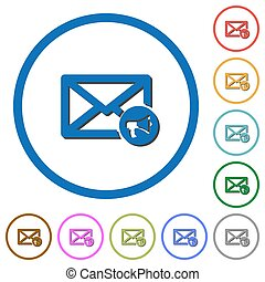 Mail reading aloud icons with shadows and outlines - Mail...