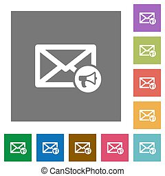 Mail reading aloud square flat icons - Mail reading aloud...