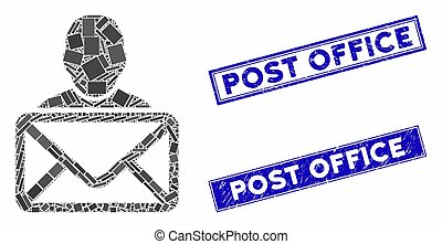 Mosaic mail recipient icon and rectangle seal stamps. Flat vector mail recipient mosaic icon of random rotated rectangle elements. Blue caption seal stamps with distress surface.