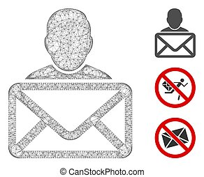 Mesh mail recipient polygonal web icon vector illustration. Carcass model is based on mail recipient flat icon. Triangular mesh forms abstract mail recipient flat carcass.