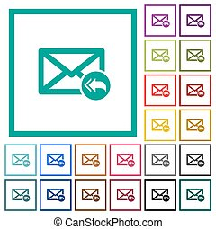 Mail reply to all recipient flat color icons with quadrant frames on white background