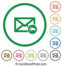 Mail reply to all recipient flat color icons in round outlines on white background