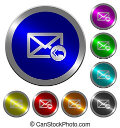 Mail reply to all recipient icons on round luminous coin-like color steel buttons