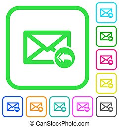 Mail reply to all recipient vivid colored flat icons in curved borders on white background