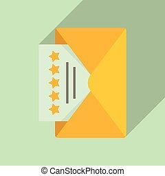 Mail reputation icon, flat style - Mail reputation icon. ...