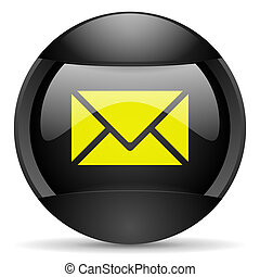 mail round black web icon on white background