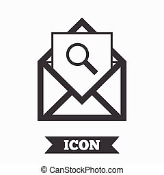 Mail search icon. Envelope symbol. Message sign.