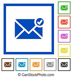 Mail sent framed flat icons - Set of color square framed...