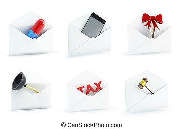 mail set on a white background 3D illustration