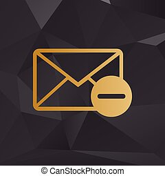 Mail sign illustration. Golden style on background with polygons.
