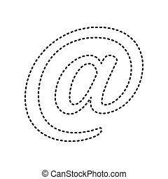 Mail sign illustration. Vector. Black dashed icon on white background. Isolated.