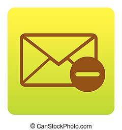 Mail sign illustration. Vector. Brown icon at green-yellow gradient square with rounded corners on white background. Isolated.