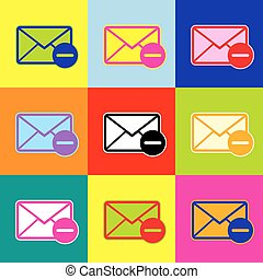 Mail sign illustration. Vector. Pop-art style colorful icons set with 3 colors.