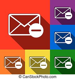 Mail sign illustration. Vector. Set of icons with flat shadows at red, orange, yellow, green, blue and violet background.