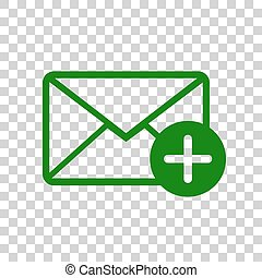 Mail sign illustration with add mark. Dark green icon on transparent background.