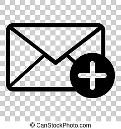 Mail sign illustration with add mark. Flat style black icon on transparent background.