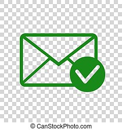 Mail sign illustration with allow mark. Dark green icon on transparent background.