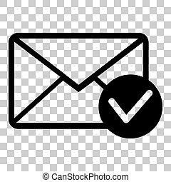 Mail sign illustration with allow mark. Flat style black icon on transparent background.