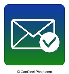 Mail sign illustration with allow mark. Vector. White icon at green-blue gradient square with rounded corners on white background. Isolated.